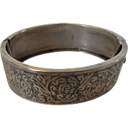 Sterling Silver English Hallmarked Bangle with Beautiful Etching on Top Side