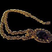 Swarovski Pendant on Goldtone Chain Signed on End Charm