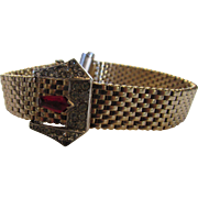 Vintage Kreisler 1940's Buckle Bracelet Accented with Clear Crystals and Faux Ruby Tone Marquis