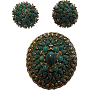 Vintage HAR Designer Signed Set With Faux Green Jade Pin and Matching Earrings