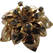 Vintage 1940's Pin Rose Gold  With Rhinestone Accents