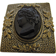 Vintage Czechoslovakia Black Cameo in Floral Brass Frame