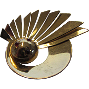 Vintage Designer Deco Pin in Goldtone and Faux Garnet Crystals by Ernest Steiner
