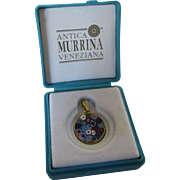 Vintage Tiny Murano Millefiori Pendant in Gold Wash Made by Antica Murrina Veneziana