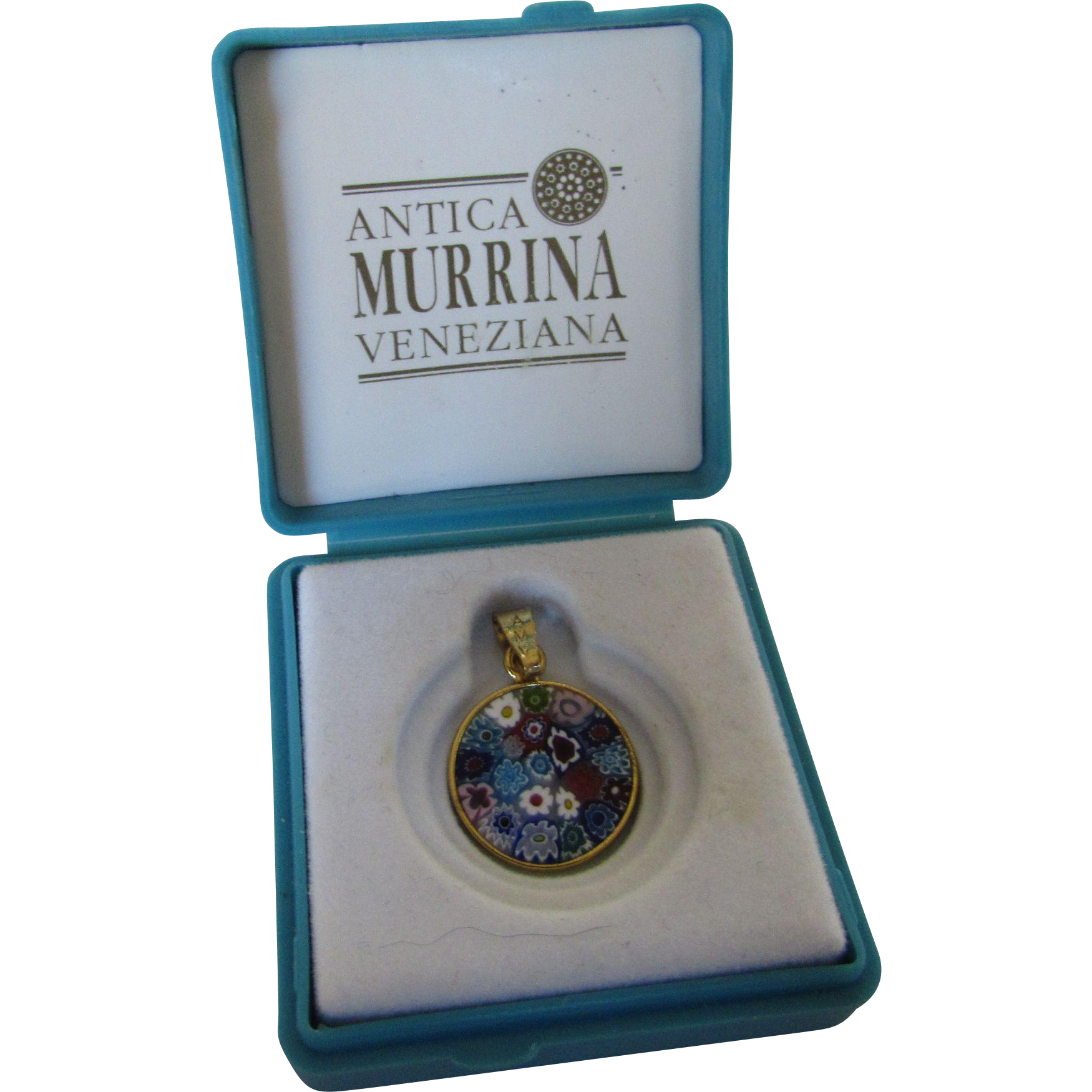 Vintage tiny murano millefiori pendant in gold wash made by antica vintage tiny murano millefiori pendant in gold wash made by antica style and grace ruby lane mozeypictures Choice Image