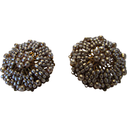 William De Lillo Clip Earrings With Faux Seed Pearl Surround