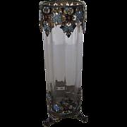 Vintage Cloisonne Brass Framed Footed Vase