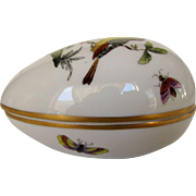 Herend Egg Shaped Trinket Box in Victoria Butterflies and Flowers Pattern