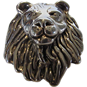 Sterling Silver Lion's Head Pin/Pendant