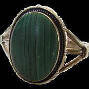 Sterling Silver Michael Perry Navajo Malachite Sandcast Bracelet