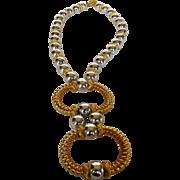 William De Lillo Statement Necklace in Goldtone and Silver Tones with Massive Pendant