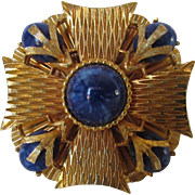 Vintage Mandel Signed Maltese Cross Goldtone Pin with Faux Lapis Lazuli Stones