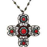 Vintage Designer Signed Maltese Cross Enhanced with Faux Coral and Faux Turquoise and Intricate Design Features