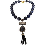 O.O.A.K. Lapis Lazuli Bead Necklace With Spectacular 5 Inch Drop