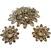 Vintage Eisenberg Earrings With Matching Un Signed Pin in Clear Crystals