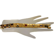 Vintage Givenchy Mid Century Goldtone Bracelet With Three Crystal accents