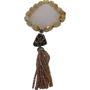 O.O.A.K. Citrine Bead Necklace With Magnetic Clasp and Druzy, Marcasite and Crystal Pendant