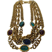 Vintage Four Strand Goldtone Necklace With Jewel Tone Crystals