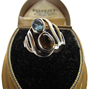 Sterling Silver Designer Signed Ring With Blue Topaz and Citrine