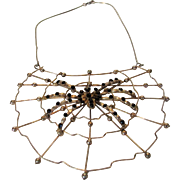 Vintage Spider in a Web Necklace in Goldtone and Silver Tone with Black Crystal Accents