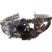 Vintage Austrian Aurora Borealis and Faux Amethyst Crystal Bracelet