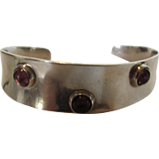 Sterling Silver Designer Cuff Bracelet Enhanced With Amethyst Cabochons