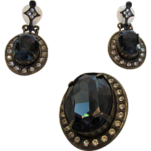Vintage Sweet Romance Pendant and Matching Pierced Earrings In Dark Blue Crystals and Rhinestone Surround