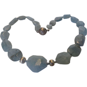 One Of A Kind Graduated Natural Aquamarine Beads with Sterling Beads and Magnetic Ball Clasp