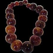 Vintage Bakelite Marbled 21 MM Bead Adjustable Necklace