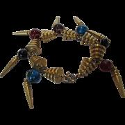 Vintage Goldtone Mid Century Modern Bracelet with Jewel Tone Crystals