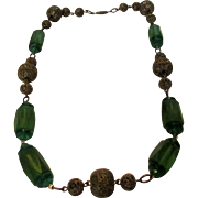 Vintage Deco Green Crystals Enhanced With Filagree Beads