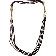 Vintage Garnet Beads and Freshwater Keshi Pearl Necklace With Gold Filled Accent Beads