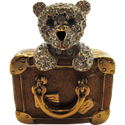 Vintage Carolee's Teddy in his Suitcase Pin