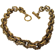 Vintage Etruscan Style Goldtone Necklace Designer Quality