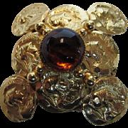 William De Lillo Goldtone Faux Roman Coin Pin With Art Glass Cabochon