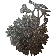 Vintage 1930's Pin with Clear Crystals On Pewter Tone Base