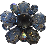 Vintage Regency Iridescent Smoky Blue Pin With Art Glass Petals and Aurora Borealis Stone Accents