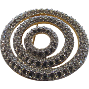 Swarovski Mid Century Swirl Pin In Clear Crystals