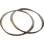 Sterling Silver Pair of Asymmetrical Bangles