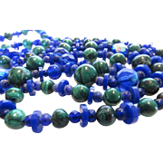 Vintage Malachite Bead and Blue Crystal Necklace