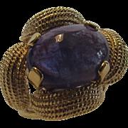 14 Karat Brushed Yellow Gold Deep Blue Tanzanite Ring in Custom Setting