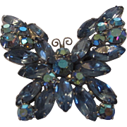 Weiss Blue Aurora Borealis Crystal Butterfly Pin