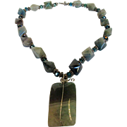 Vintage Natural Agate Necklace Accented With Teal Aurora Borealis Beads With Pendant