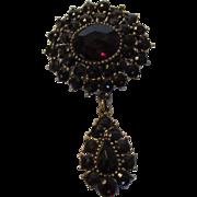 Vintage Faux Garnet Drop Pin