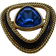 Swarovski Signed Goldtone Pin With Beautiful Blue Center Crystal