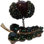 Vintage Pin With Green Crystals and Bakelite Covered Acorn Drop