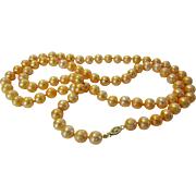 Golden 9 MM Pearls With 14 Karat Yellow Gold Clasp - Red Tag Sale Item