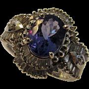 14 Karat White Gold Tanzanite and Diamond Ring