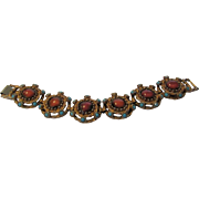Vintage Etruscan Style Bracelet With Faux Coral and Faux Turquoise Accents