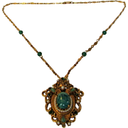 Vintage Florenza Medieval Themed Necklace Supporting Ornate Pendant